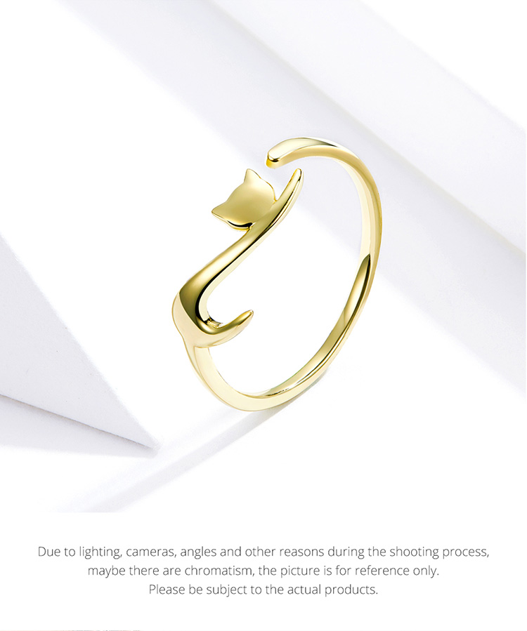 Long Tail Cat Sterling Silver Ring