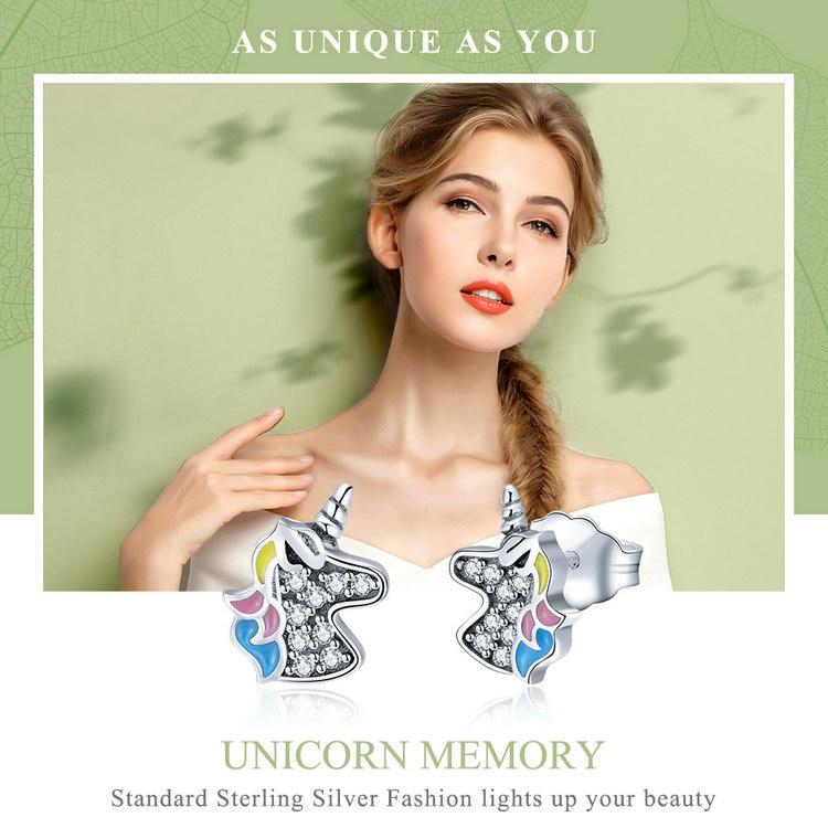 Unicorn Memory 925 Sterling Silver Earrings