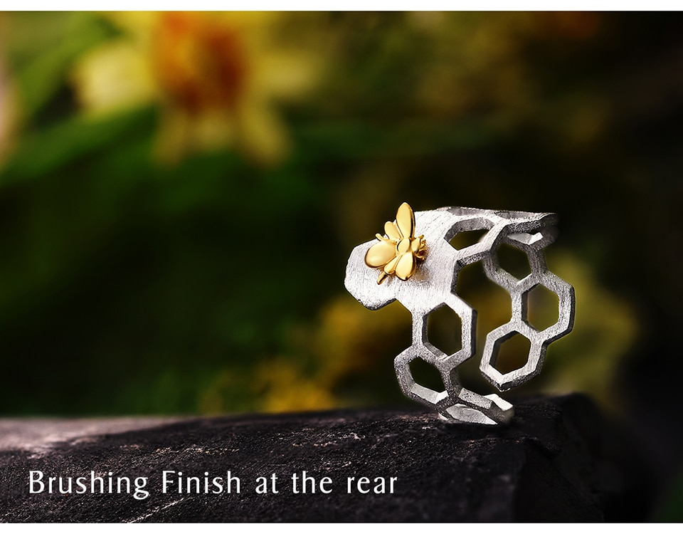 Sterling Silver 18K Gold Bee Ring
