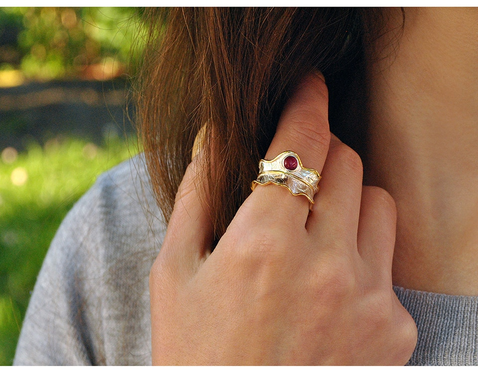 Sterling Silver Leaf Ring With Natural Gemstone